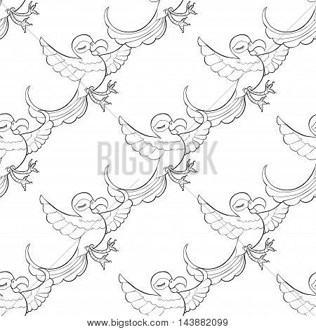 Seamless Pattern Coloring Fun With A Caribbean Dancing Parrot. Vector Illustration