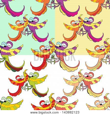 Set Seamless Pattern With Funny Dances Caribbean Couple Of Parrots. Vector Illustration