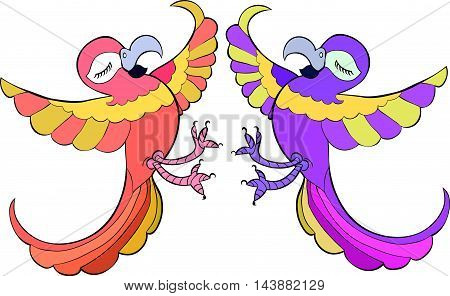 Set With Caribbean Happy Dancing Couple Of Parrots. Vector Illustration