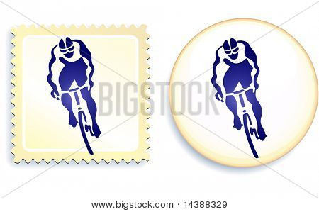 Cyclist Stamp and Button Original Vector Illustration