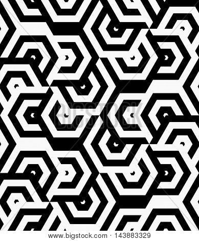 Black And White Striped Turned Overlapping Hexagons