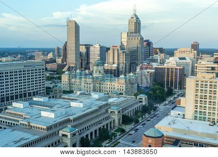 Indiananpolis Indiana USA- Auugust 17 2016. View of Indiana State House state capitol building of the US state of Indiana; with high rise buildings in background. 2016. View of Indiana State House state capitol building of the US state of Indiana; with hi