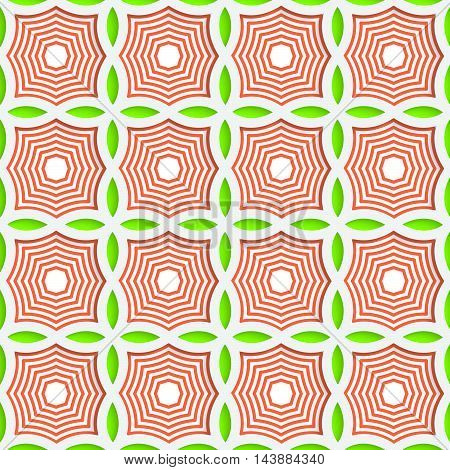 Colored 3D Green And Orange Striped Pointy Squares