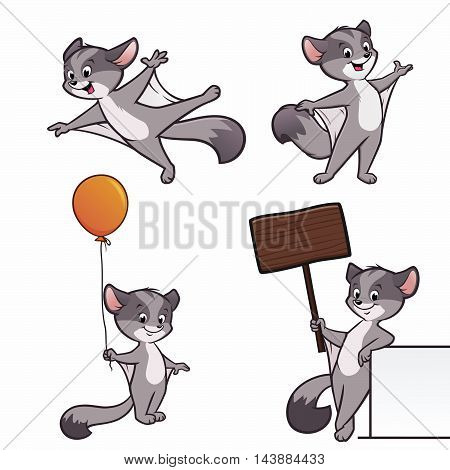 A set of cartoon sugar glider illustration