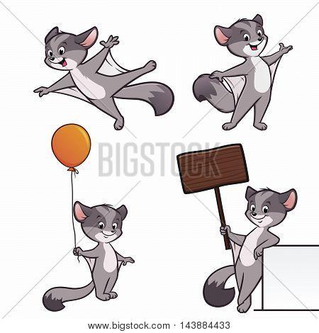 A set of cartoon sugar glider illustration