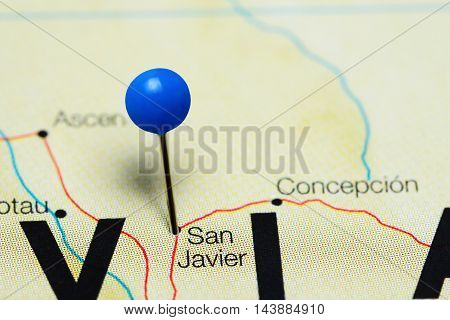 San Javier pinned on a map of Bolivia