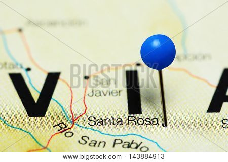 Santa Rosa pinned on a map of Bolivia