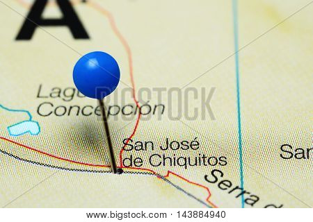 San Jose de Chiquitos pinned on a map of Bolivia