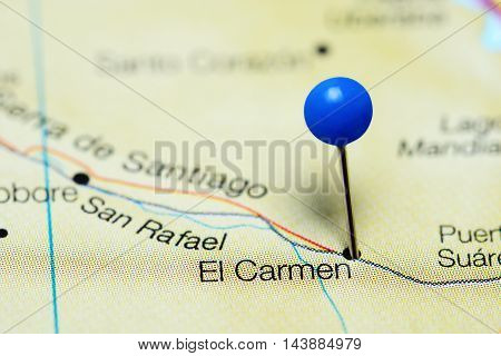 El Carmen pinned on a map of Bolivia