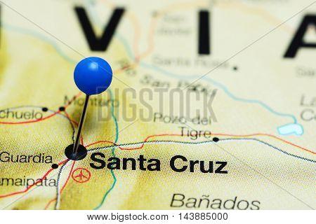 Santa Cruz pinned on a map of Bolivia