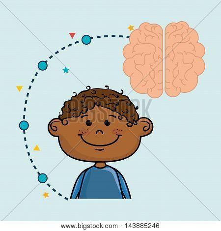 boy cartoon brain idea vector illustration design
