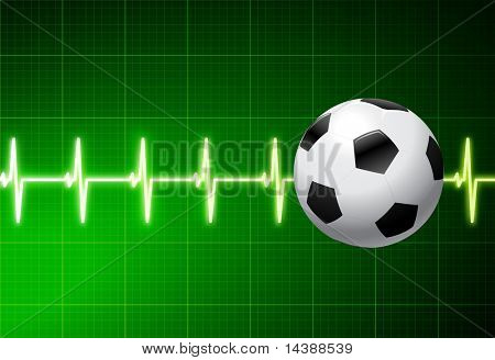 Soccer Ball with Green Pulse Original Vector Illustration AI8 Compatible