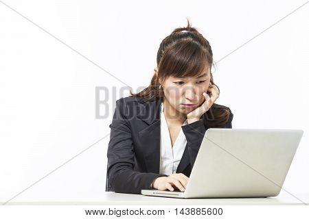 young business woman feel unhappy in the office