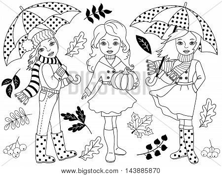 Vector black and white autumn girls set with umbrellas pumpkin and leaves