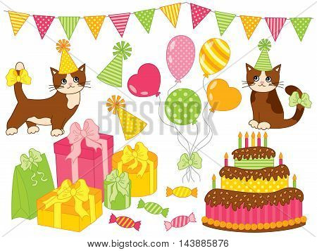 Vector Happy Birthday party set with cake balloons gift boxes bunting and cats