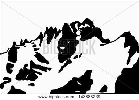 Mountains ranges. glacer, hand-drawn white on black