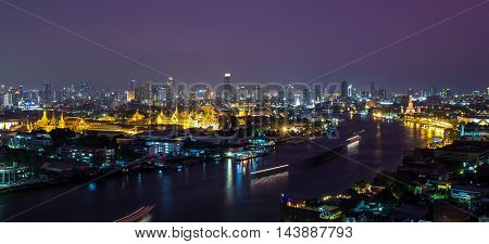 Grand palace and wat arun night in Bangkok Thailand