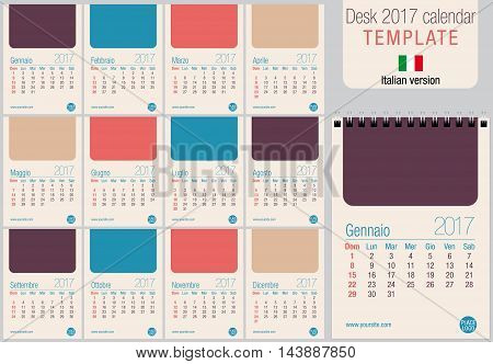 Useful desk calendar 2017 template in pastel colors, ready for printing on laser or offset. Size: 150mm x 210mm. Format A5 vertical. Italian version
