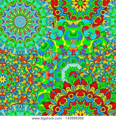 Colorful seamless pattern mandala can be used for wallpaper pattern fills web page background surface textures. Happy design pattern.