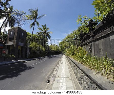 Street with palms in Kuta Bali Indonesia