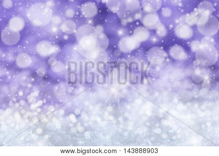 Christmas Texture With Sparkling Stars. Snow And Snowflakes With Purple Background. Magic Bokeh Effect With Lights. Copy Space For Advertisement. Card For Seasons Greetings