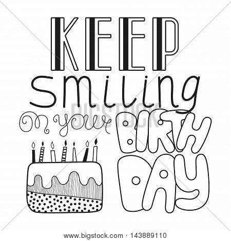 Black and white congratulation happy birthday. Decorative handwritten lettering. Vector illustration