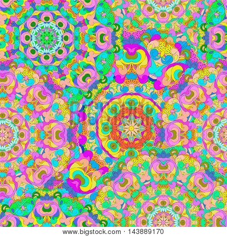 Colorful seamless pattern mandala, can be used for wallpaper, pattern fills, web page background, surface textures. Arabic, Indian, Islam. Happy pattern design.