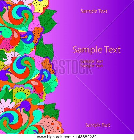 Flat style vector illustration with flowers, swirls and leaves. Bright romantic backgrounds. This image can be used for a greeting card, valentine or the wedding invitation. Happy pattern.