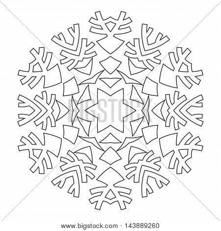 Round ornament for coloring books. Black, and white pattern. Lace, snowflake