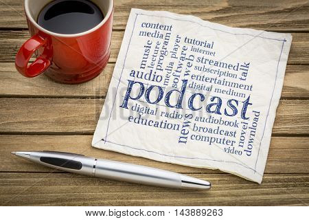 podcast word cloud on a napkin a cup of coffee - internet broadcasting concept