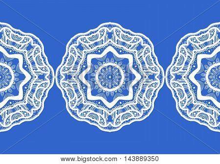 Snowflake. Christmas seamless pattern. Circular ornament and decorative lace. Vector illustration