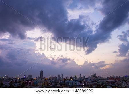 City Landscape At evening. Trian market Bangkok,Thailand.