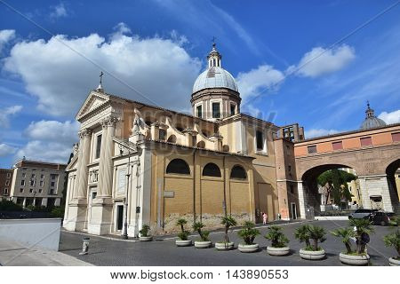 ROME, ITALY - MAY 30: San Rocco (Saint Roch) church in front of Ara Pacis and near the Mausoleum of Augustus in the city center MAY 30, 2016 in Rome, Italy