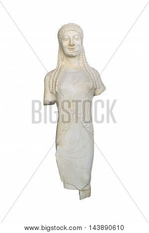Marble greek kore statuette isolated over white