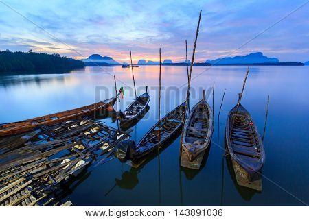 Fishing village and sunrise at Samchong-tai Phangnga Thailand