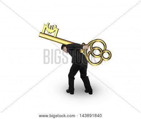 Businessman Carrying Golden Treasure Key In Euro Symbol Shape