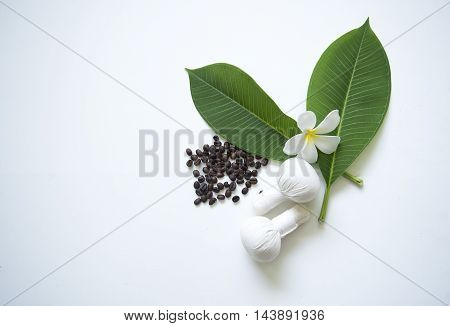 Spa Treatments  and massage on wooden white, soft focus