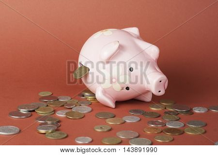Saving money concept, Many coin and Piggy Bank