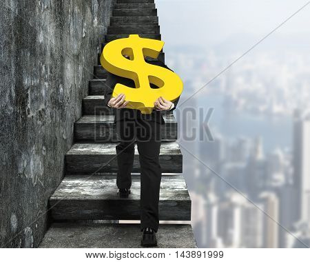 Man Carrying Golden Dollar Sign Climbing Old Concrete Stairs