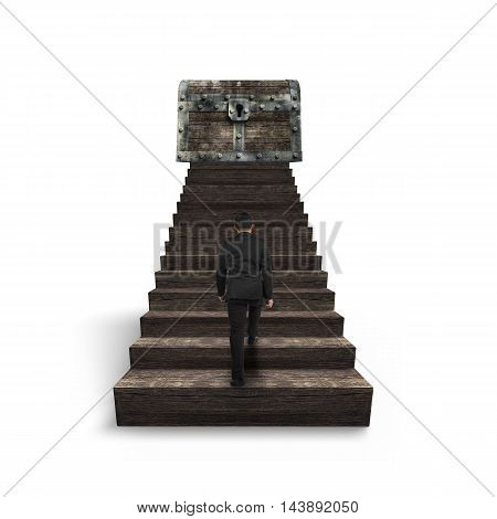 Man Walking Toward Treasure Chest On Top Of Wooden Stairs