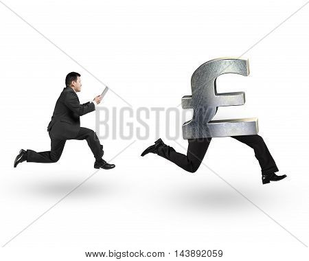 Man Running After Pound Money Symbol With Human Legs Running