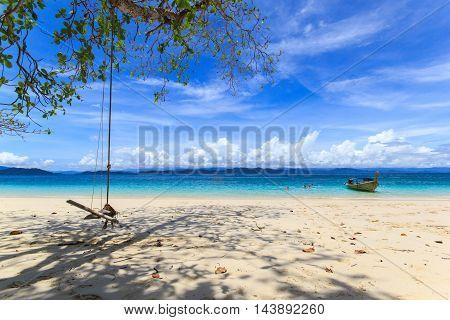 Isolated beach on tropical island Koh Kangkao Ranong Thailand
