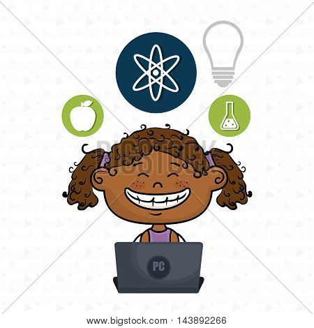 girl atom laptop idea vector illustration design