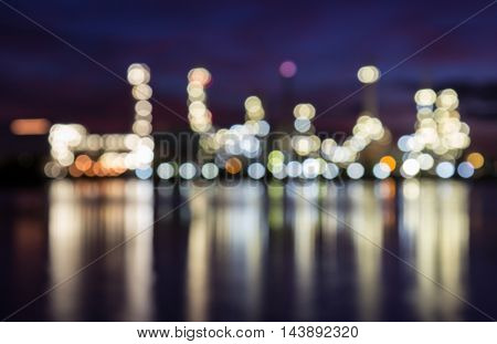 Bokeh at Oil refinery at dust, Soft tone