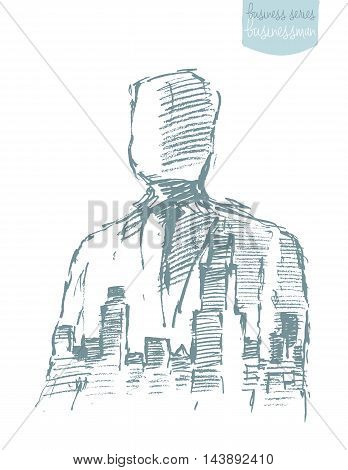 Double exposure of a city and professional businessman portrait. Freedom, aspiration, winner, creativity, hero concept. Vector illustration, sketch