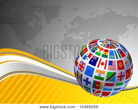 Flags Globe with World Map Original Vector Illustration