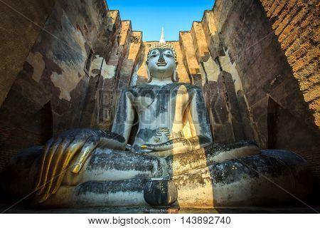 Ancient buddha statue. Sukhothai Historical Park Sukhothai Province Thailand