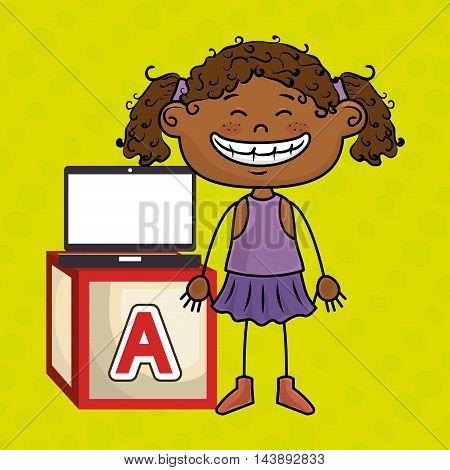 girl laptop cube icon vector illustration design