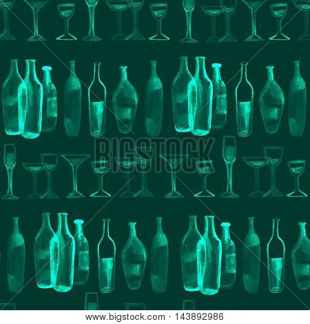 watercolor seamless background. Green wine bottles and glasses.