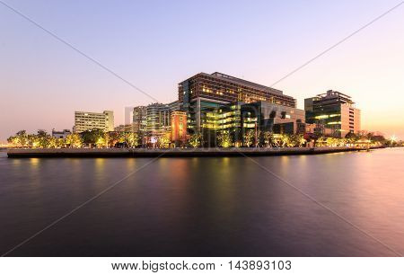 Public Hospital at twilight time in the river Bangkok Thailand
